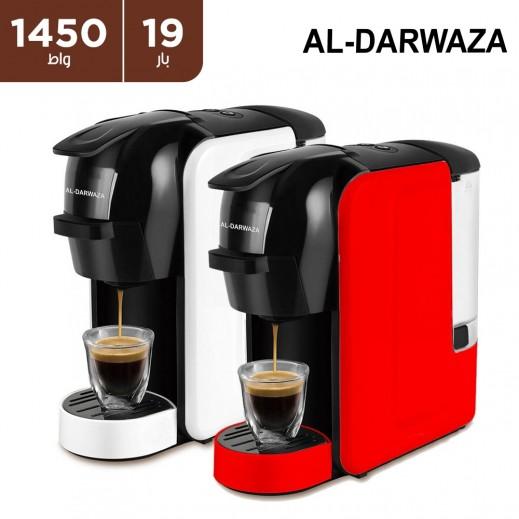 الدروازة - آلة صنع القهوة متعددة الوظائف -متوافقة مع عدة كبسولات - ١٤٥٠ واط