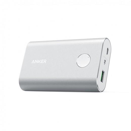 """أنكر – بطارية إحتياطية """"باور كور بلس"""" بقوة 10050 مل أمبير بتقنية QC3.0 – فضي"""