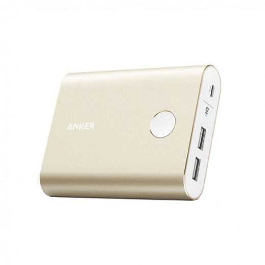 """أنكر – بطارية إحتياطية """"باور كور بلس"""" بقوة 13400 مل أمبير بتقنية QC3.0 مع 2 منافذ USB – ذهبي"""