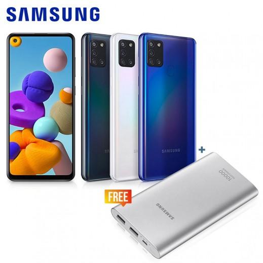 سامسونج - هاتف جالاكسي A21s بسعة 128 جيجابايت + سامسونج – بطارية احتياطية سعة 10,000 ملي أمبير
