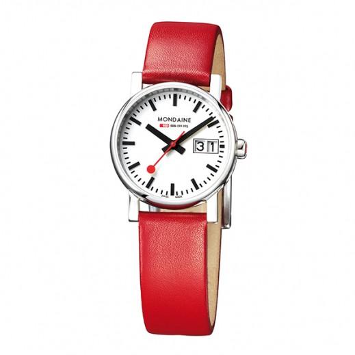 موندين إيفو – ساعة للسيدات بحزام  جلدي أحمر هيكل بقطر 30 مم