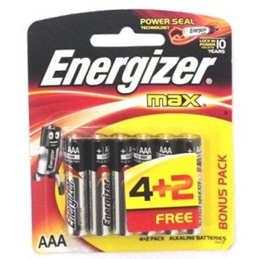إنرجايزر حزمة بطاريات AAA الكالاين 2+4 مجانا