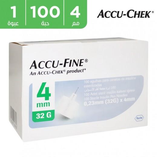 أكيوتشيك - إبر رفيعة 4 ملم تحتوى على 100 قطعة من إبر أقلام الأنسولين