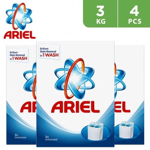 """آريال - مسحوق الغسيل الأزرق للغسالات العادية """" عطر أصلي """" 4 × 3 كجم"""
