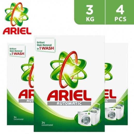 """آريال – مسحوق الغسيل الأخضر للغسالات الأوتوماتيك """" عطر أصلي """" 4 × 3 كجم"""
