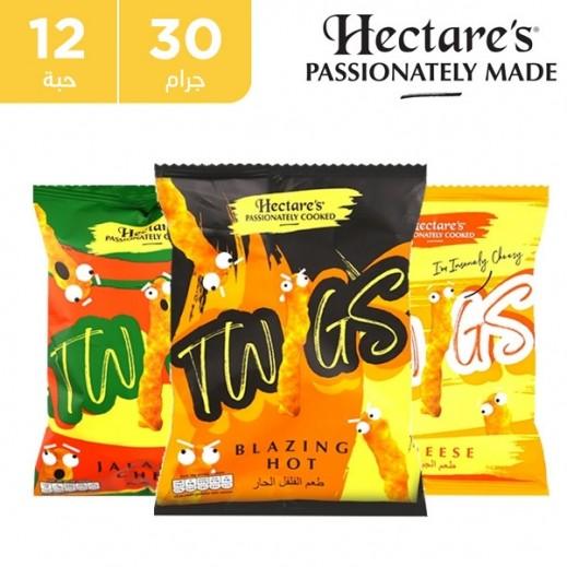 هيكترز - سناك الذرة تويجز ميكس خالية من الغلوتين نكهات متنوعة 12 × 30 جم
