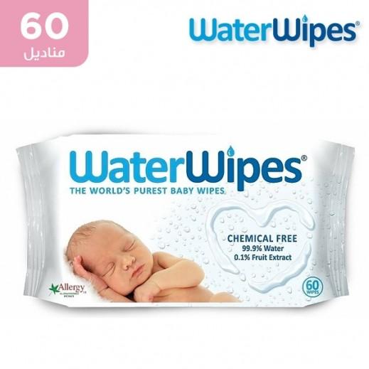 وتر وايبس - المناديل المبللة الطبعية والخالية من المواد الكميائية للأطفال الحساسة 60 منديل