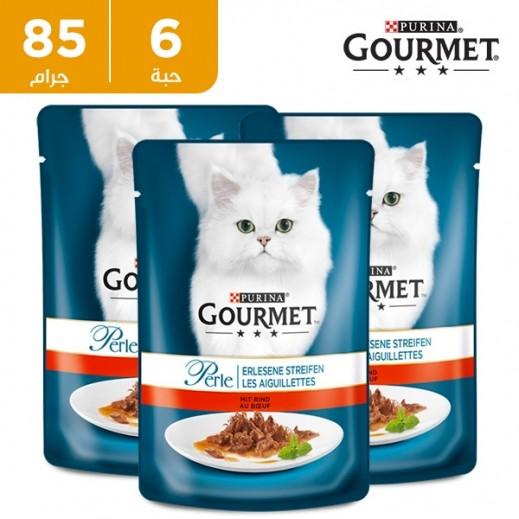 بورينا - طعام القطط (جورميه بيرل) مع شرائح اللحم 6 × 85 جم