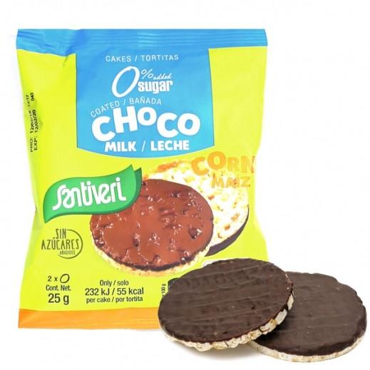 سانتيفري – كعك الذرة مغطى بشوكولاتة الحليب وخالي من الجلوتين 25 جم
