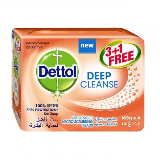 """ديتول - صابون"""" التنظيف العميق"""" بالمشمش 165 جم (3حبة +1 مجاناً)"""