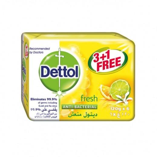 """ديتول – صابون """"منعش""""المضاد للبكتيريا 120 جم (3 +1 مجاناً) - عرض خاص"""