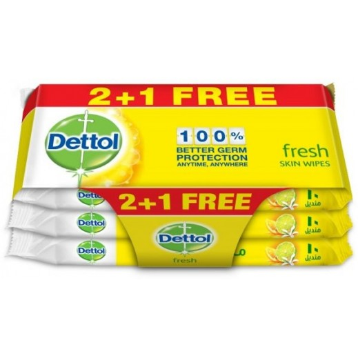 ديتول – مناديل منعشة مضادة للجراثيم وخالية من الكحول 10 مناديل (2+1 مجانا)