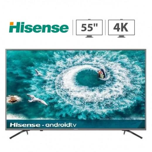 هايسنس – تلفزيون ذكي 55 بوصة اندرويد UHD 4K – اسود - يتم التوصيل بواسطة AL ANDALUS بعد 3ايام عمل