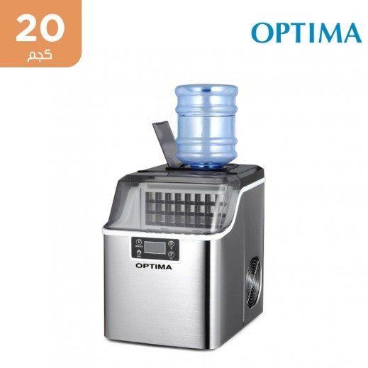 أوبتيما - صانعة ثلج محمولة تنتج 20 كجم يومياً - فضي