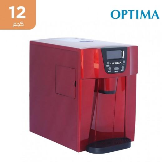 أوبتيما - صانعة ثلج محمولة تنتج 12 كجم يومياً - أحمر