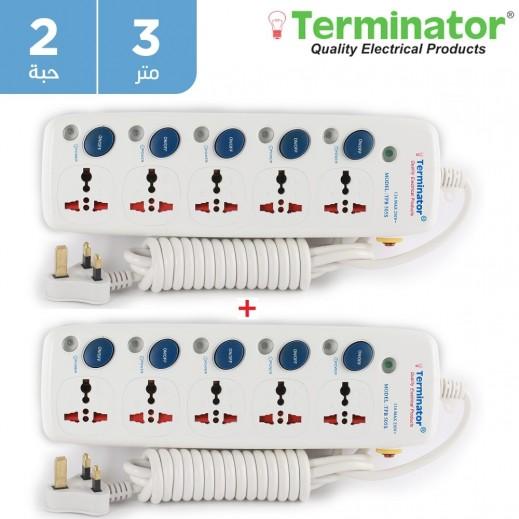 ترمونيتر – وصلة اشتراك كهربائية 5 مقابس بطول 3 متر 13 امبير - ابيض (2 حبه)