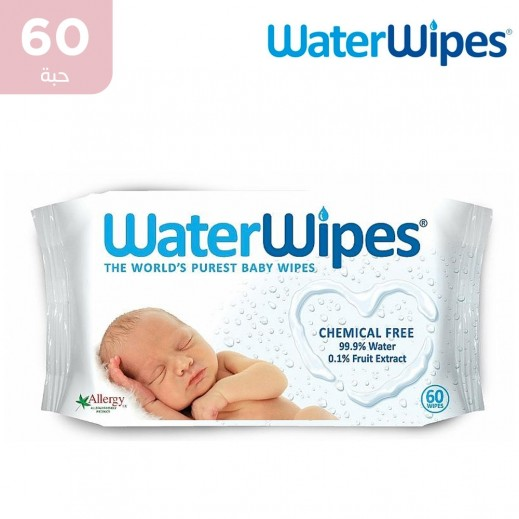 وتر وايبس - المناديل المبللة الطبيعية والخالية من المواد الكميائية للأطفال الحساسة 60 منديل