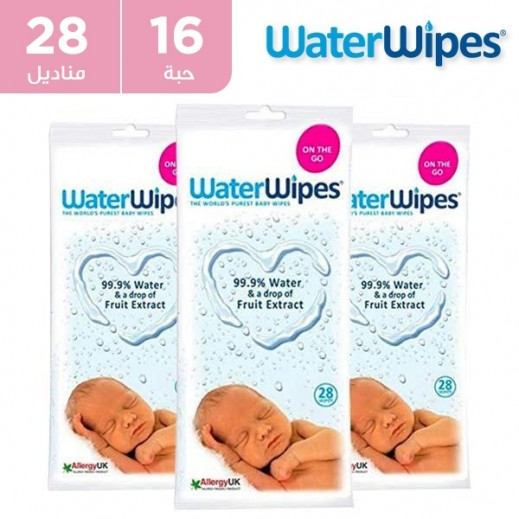 وتر وايبس - المناديل المبللة الطبيعية والخالية من المواد الكميائية للأطفال الحساسة 16 × 28 منديل