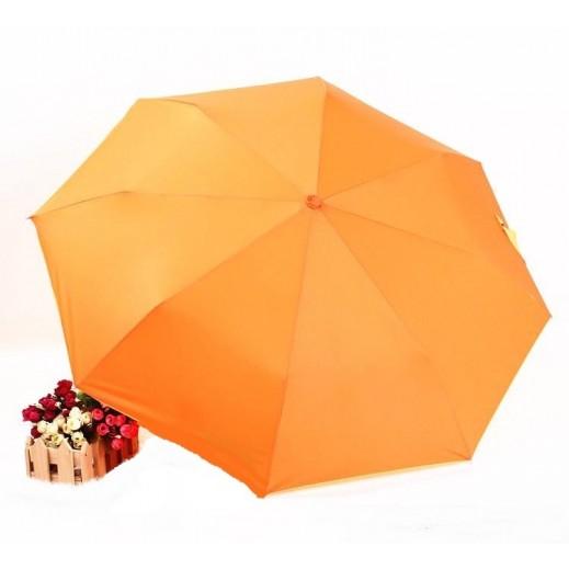 شمسية المطر 3 طيات لون برتقالي مع مقبض فضي