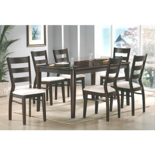 طاولة طعام 6 كرسي بني داكن  - يتم التوصيل بواسطة Qortuba Furniture
