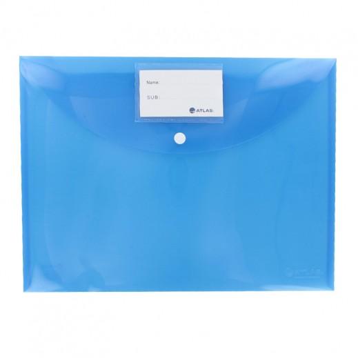 أطلس – حقيبة مستندات بزر قفل وجيب لبطاقة الأسماء – أزرق (12 حبة)