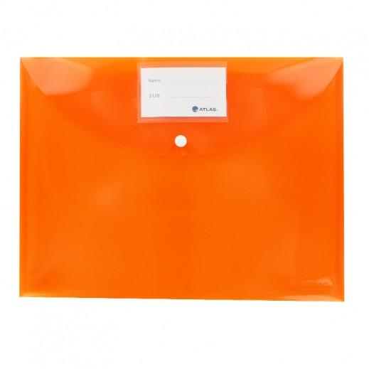 أطلس – حقيبة مستندات بزر قفل وجيب لبطاقة الأسماء –  برتقالي (12 حبة)