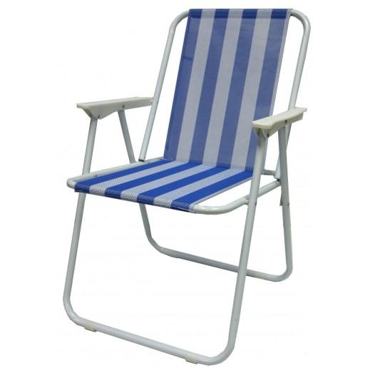كرسي قابل للطي بقماش أزرق مع أبيض