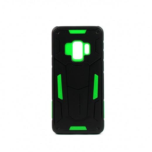 """نيلكين – غطاء حماية خلفي """"Defender"""" لسامسونج S9 - أسود وأخضر"""