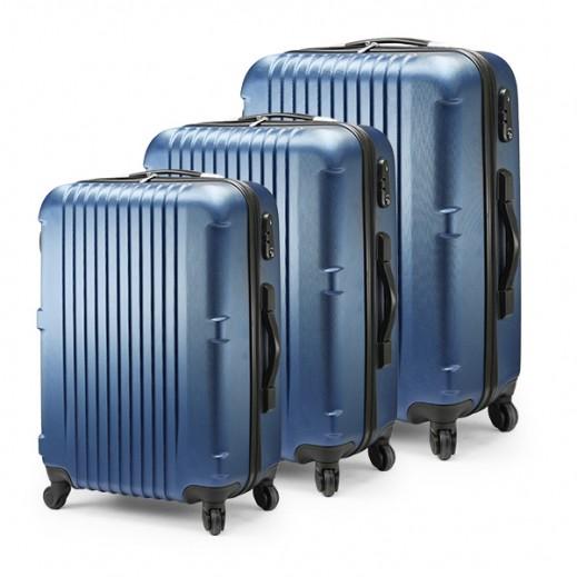 مجموعة من 3 حقائب من البلاستيك الصلب مع ميزان رقمي مدمج من  Princess San Francisco- لون أزرق