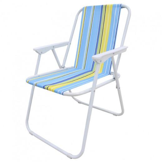 كرسي قابل للطي بقماش ذي ألوان متعددة