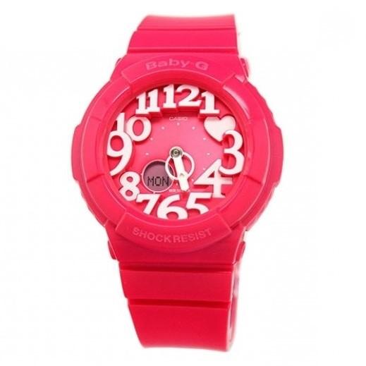 كاسيو- ساعة يد رياضية تناظري Baby-G للسيدات بحزام راتينج - وردي  - يتم التوصيل بواسطة Veerup General Trading