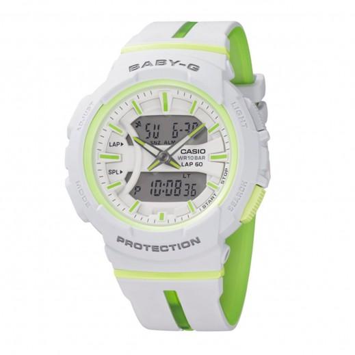 كاسيو - ساعة يد  رقمية Baby-G للسيدات بحزام راتينج - أبيض وأخضر  - يتم التوصيل بواسطة Veerup General Trading