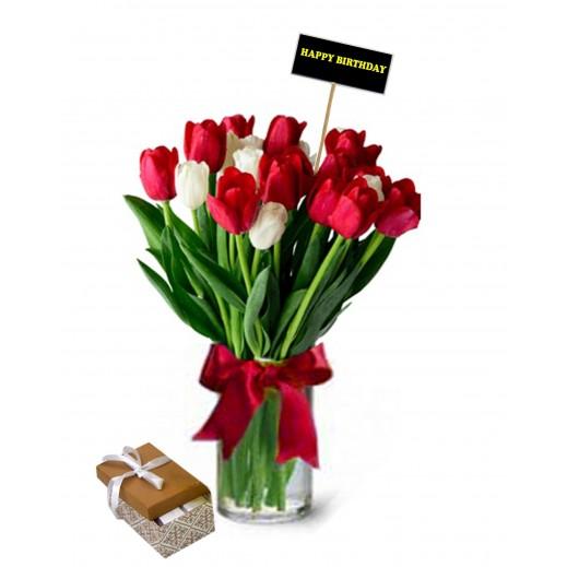 فازة زهور توليب ملونة  - يتم التوصيل بواسطة Covent Palace