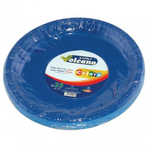 فولكينو– صحون بلاستيك بيضاوية ملونة – 10 بوصة - 25 حبة