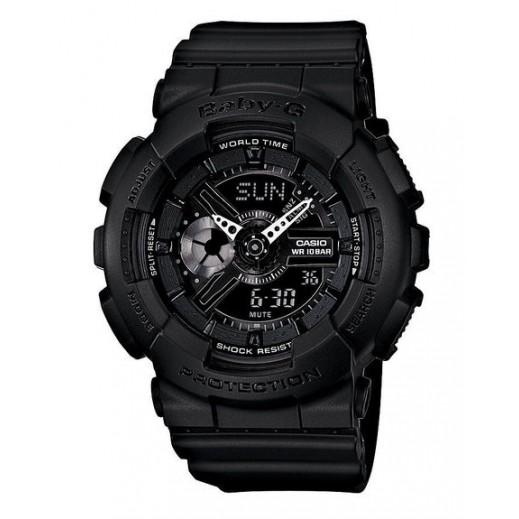 كاسيو- ساعة يد تناظري Baby-G للسيدات بحزام راتينج - أسود - يتم التوصيل بواسطة Veerup General Trading