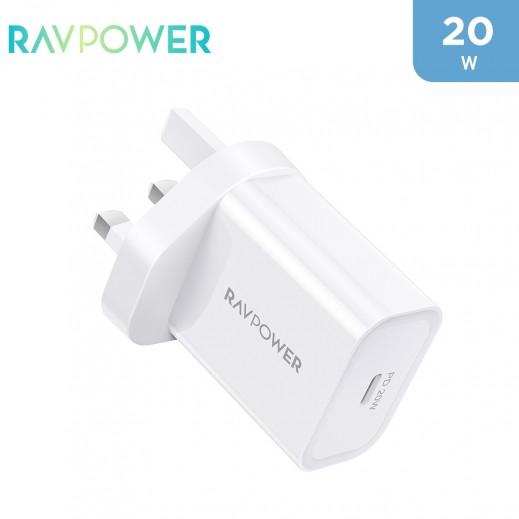 RAVPower - شاحن حائط بي دي بايونير بقوة ٢٠ واط - أبيض
