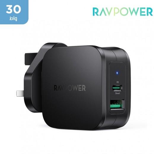 RAVPower - شاحن حائط بي دي بايونير بمدخلين  بقوة 30 واط - أسود