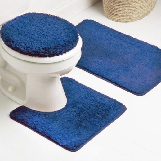 طقم سجاد حمام أزرق ساده 3 قطع