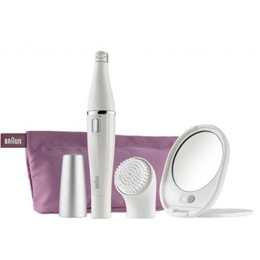 براون - مياكنة إزالة شعر الوجه & فرشاة تنظيف الوجه  مع حقيبة ومرآة