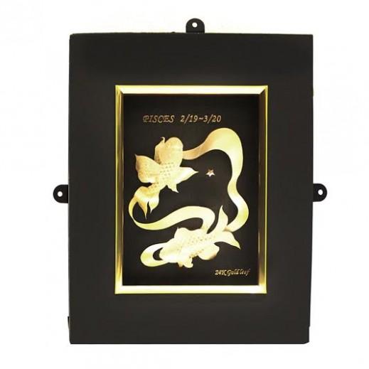 كيو بيست – رمز برج الحوت ذهبي عيار 24 ثلاثي الأبعاد