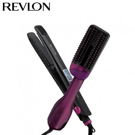 ريفلون- فرشاة مجفف الشعر + مكواه فرد شعر رقمية مثالية - 230 درجة