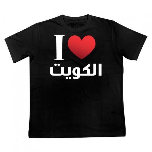 """تى شيرت """" أحب الكويت """" للرجال – مقاس ( XXL ) أسود"""