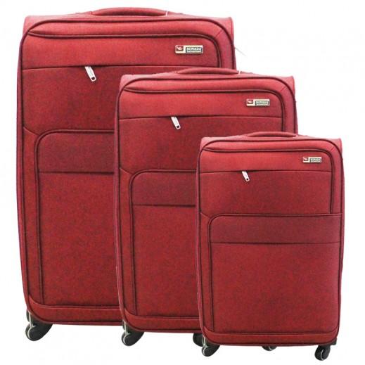 3722ceea51470 سونادا – 3 حقائب سفر بعجل – أحمر داكن