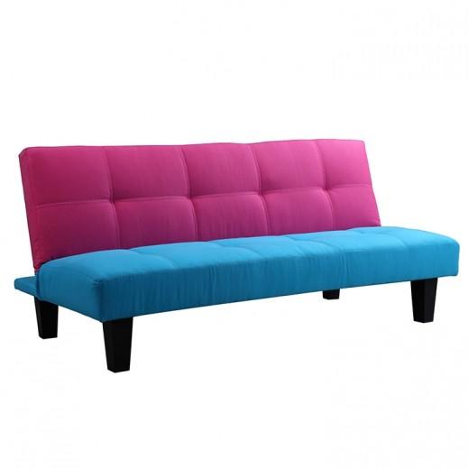 صوفا سرير 3 مقعد أزرق وبنفسجي  165×96×34 سم  - يتم التوصيل بواسطة Qortuba Furniture
