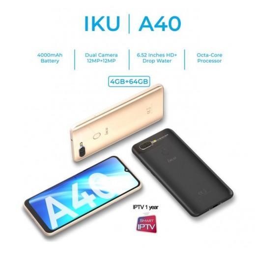 إكو - هاتف ذكي A40 6.52 بوصة بشبكة 4G ثنائي الشريحة SIM بسعة 64 جيجا مع IPTV مجاني - ذهبي