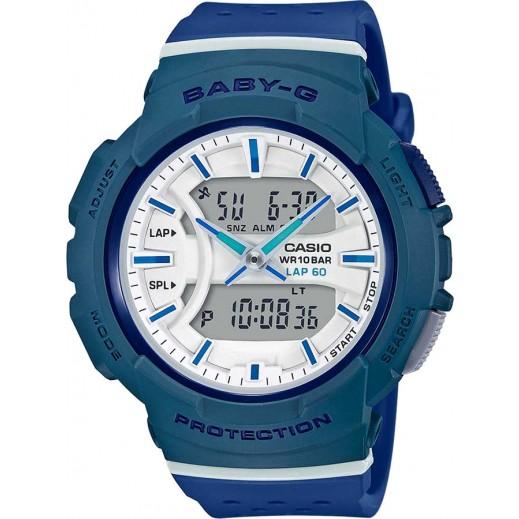 كاسيو - ساعة يد  رقمية Baby-G للسيدات بحزام راتينج - أزرق وأبيض - يتم التوصيل بواسطة Veerup General Trading