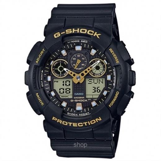 كاسيو - ساعة يد رقمي وتناظري G-SHOCK بحزام راتينج للرجال - أسود وذهبي  - يتم التوصيل بواسطة Veerup General Trading