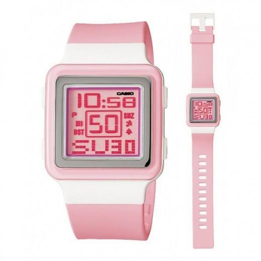 """كاسيو - ساعة يد """"بوبتون"""" رقمية للسيدات وردي بسوار راتنج وردي - يتم التوصيل بواسطة Veerup General Trading"""