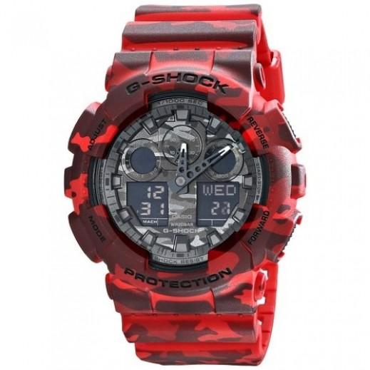 كاسيو - ساعة يد رقمي وتناظري G-SHOCK بحزام راتينج للرجال - أحمر  - يتم التوصيل بواسطة Veerup General Trading