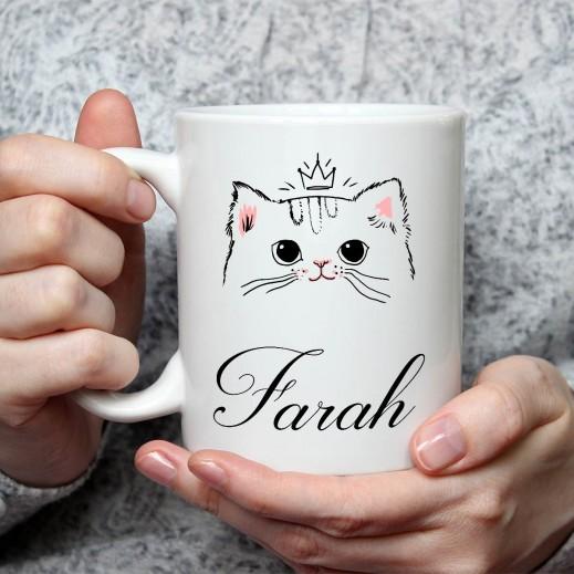 الاسم على كوب (تصميم قطة) - MU025 - يتم التوصيل بواسطة Berwaz.com